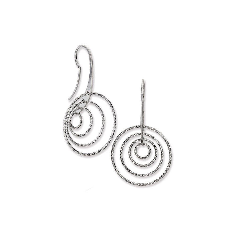Multi Circle Dangle Earrings, Sterling Silver