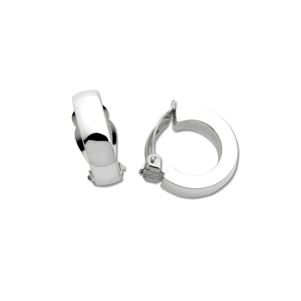Medium Half-Hoop Non-Pierced Earrings, Sterling Silver