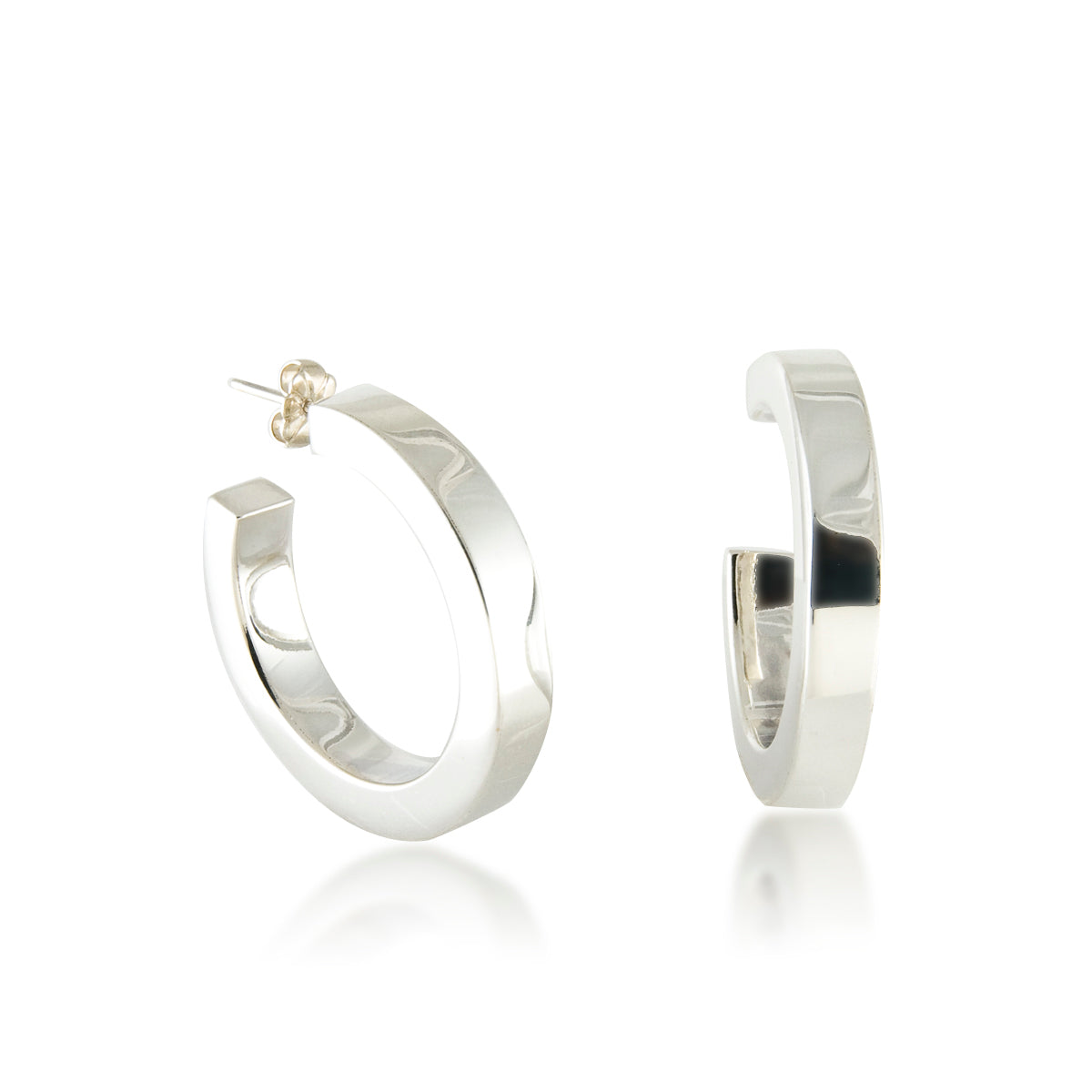 Medium Square Tube Hoop Earrings, Sterling Silver