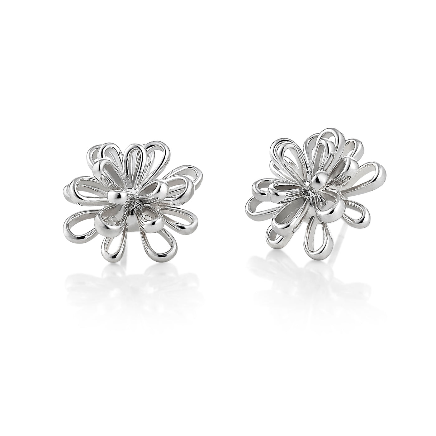 Open Flower Button Earrings, Sterling Silver