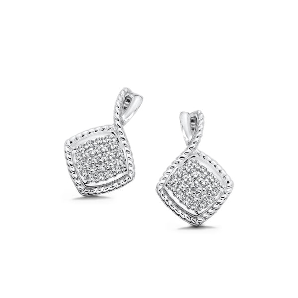 Square Pavé Set Diamond Drop Earrings, Sterling Silver