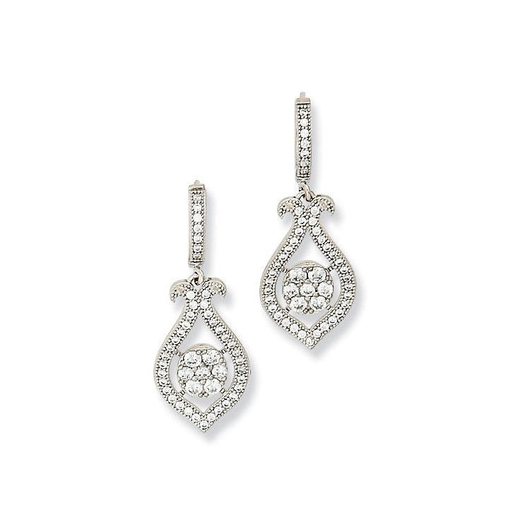Open Tulip Design CZ Dangle Earrings, Sterling Silver