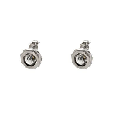 Octagonal Stud Earrings, Sterling Silver with Rhodium Plating