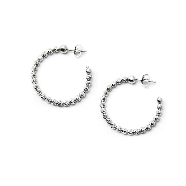 Bead Hoop Earrings, 1.25 Inches, Sterling Silver