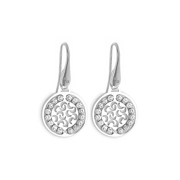 Round Disc Dangle Earrings, Sterling with Platinum Plating