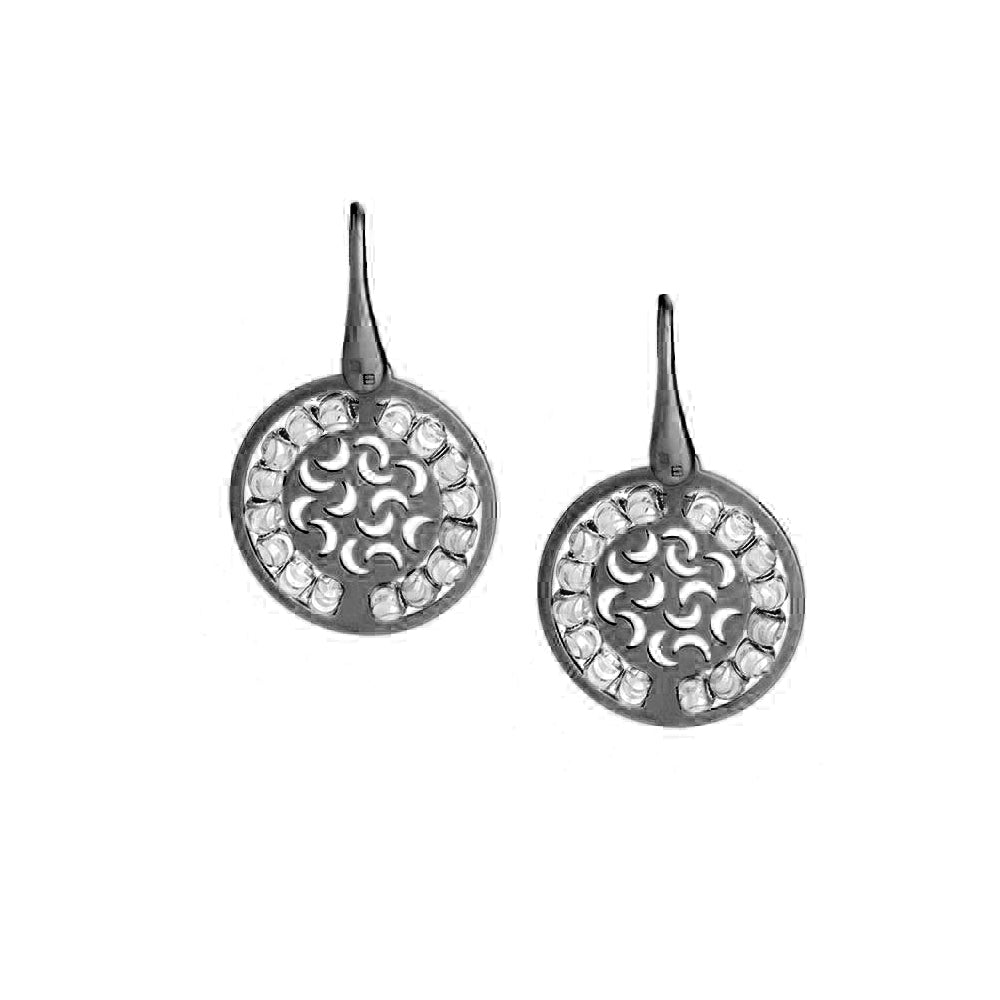 Two Tone Round Disc Dangle Earrings, Sterling with Blackened Rhodium Plating