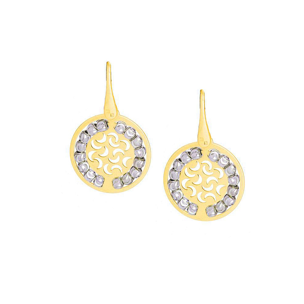 Two Tone Round Disc Dangle Earrings, Sterling with 14K Yellow Gold Plating