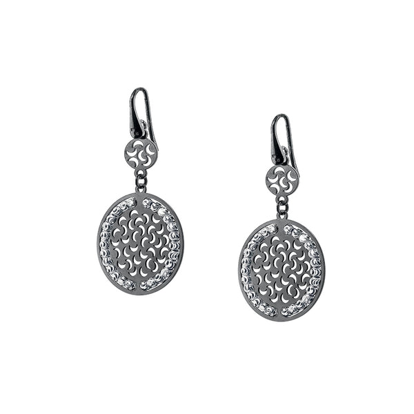 Round Double Disk Dangle Earrings, Sterling Silver with Black Rhodium Plating