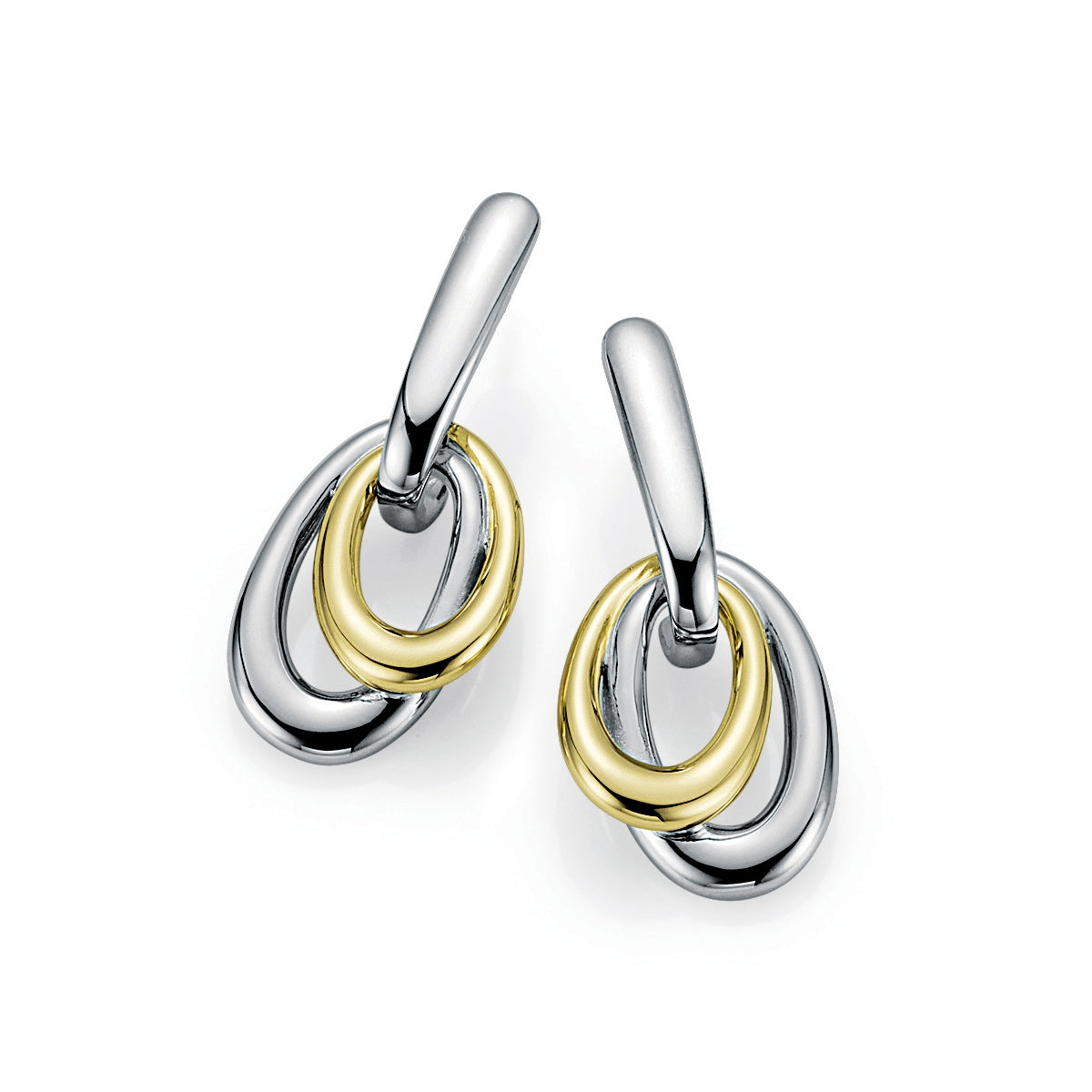 Oval Loop Dangle Earrings, Sterling Silver and Yellow Gold Plating