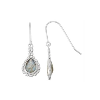 Bead Framed Labradorite Drop Earrings, Sterling Silver