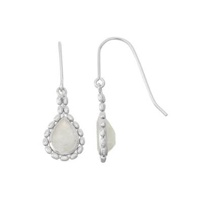 Bead Framed Moonstone Drop Earrings, Sterling Silver