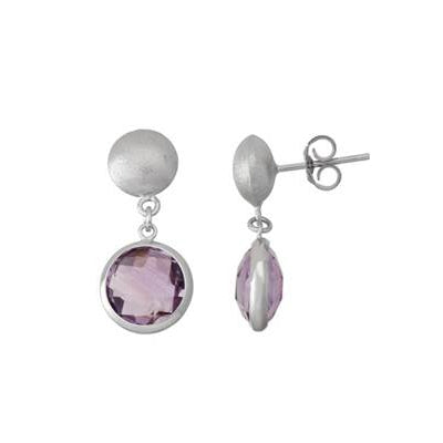 Round Bezel Amethyst Drop Earrings, Sterling Silver