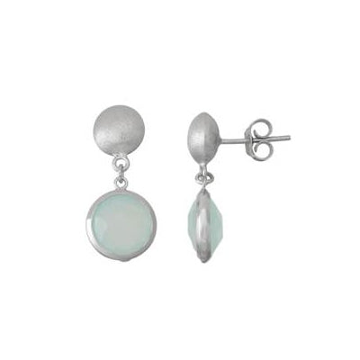 Round Bezel Chalcedony Drop Earrings, Sterling Silver