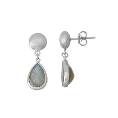 Teardrop Bezel Labradorite Drop Earrings, Sterling Silver