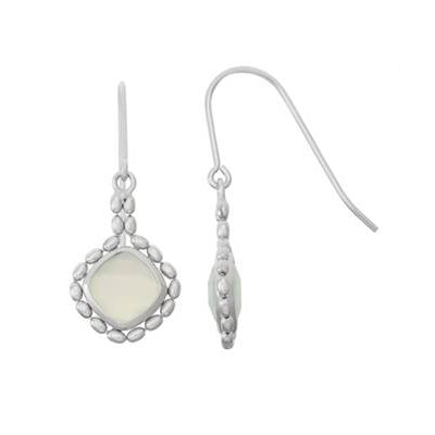 Bead Framed Square Aqua Chalcedony Drop Earrings, Sterling Silver