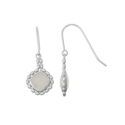 Bead Framed Square Moonstone Drop Earrings, Sterling Silver