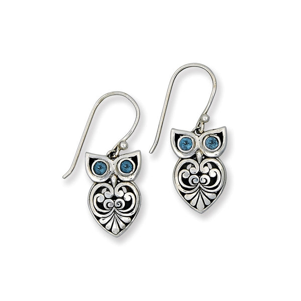 Owl Design Drop Earrings with Blue Topaz, Sterling Silver