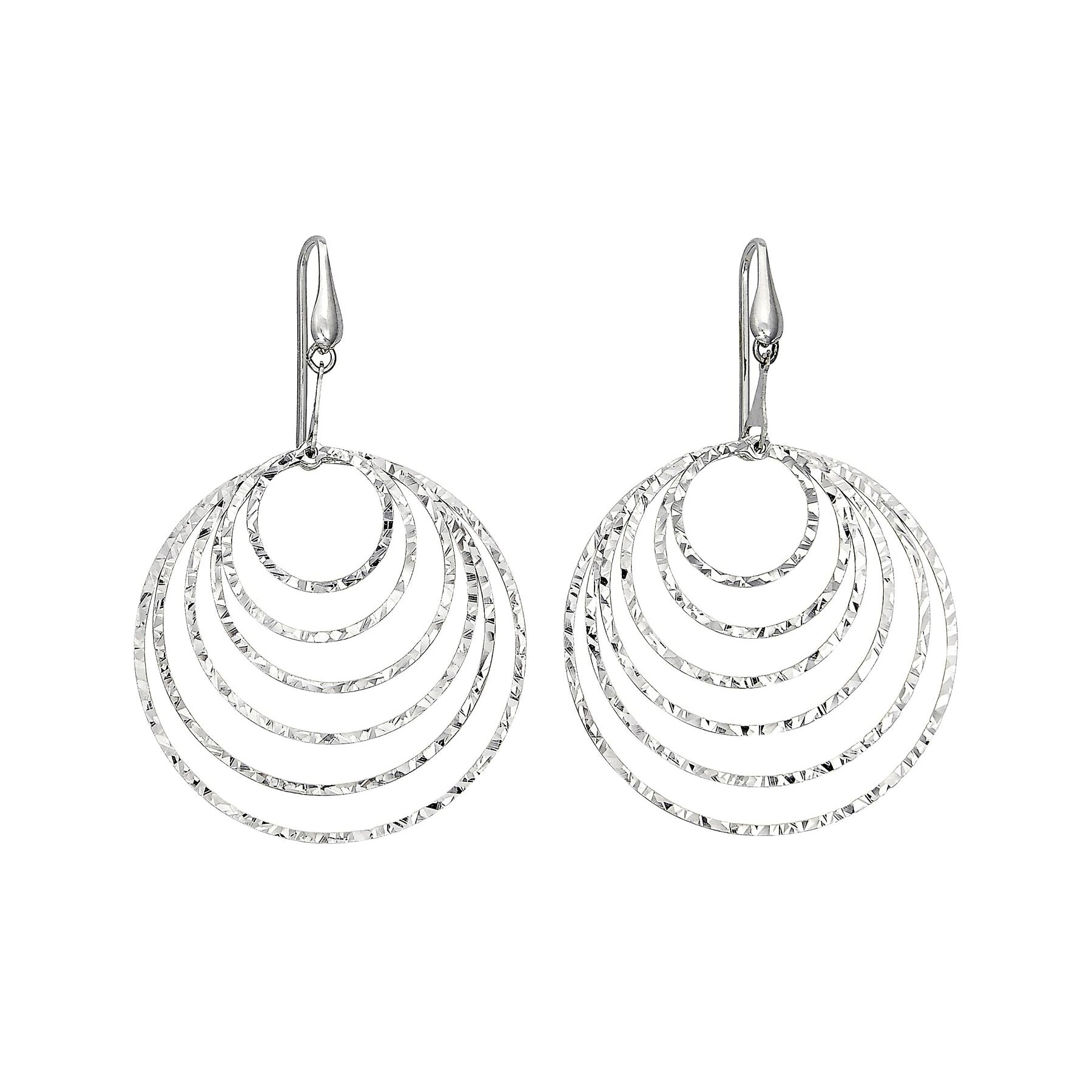 Diamond Cut Nested Circles Dangle Earrings, Sterling Silver