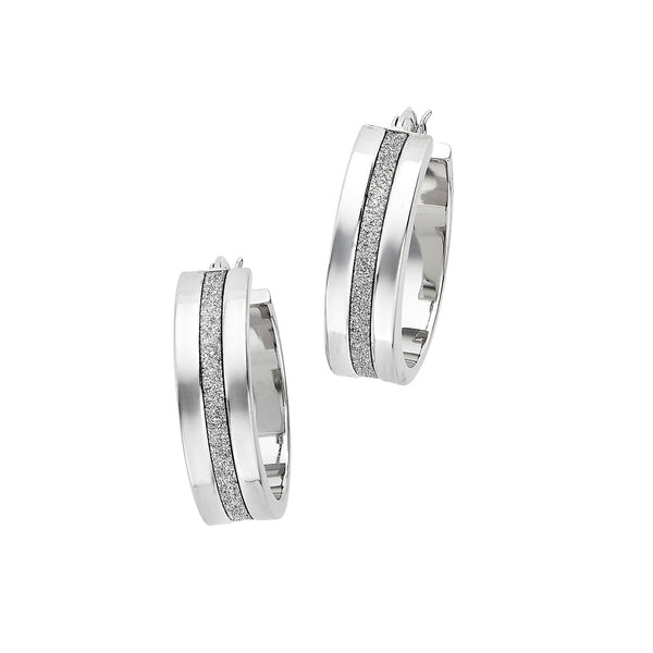 Shiny Hoop Earrings with Sparkle Center, Sterling Silver