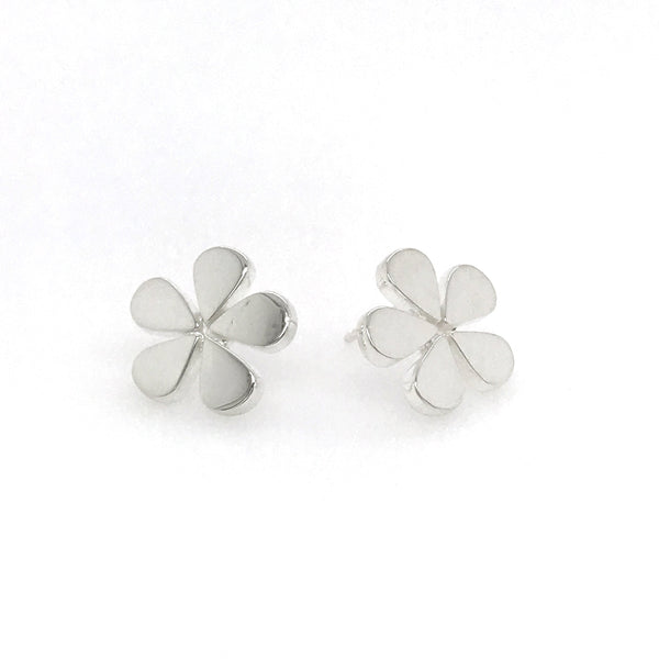 Flower Shaped Stud Earrings, Sterling Silver