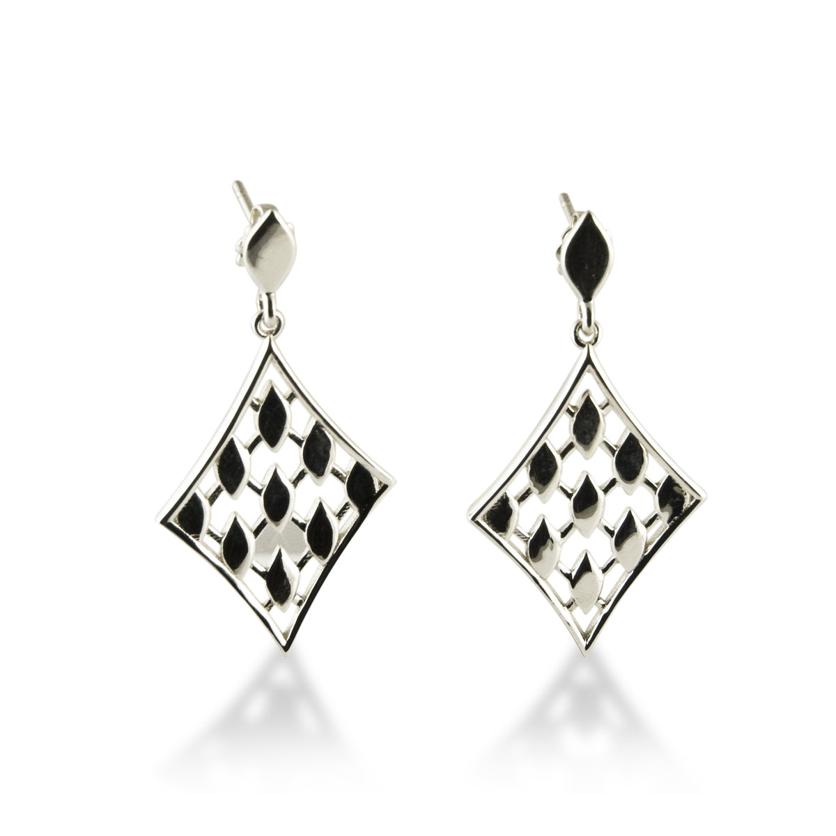 Diamond Shape Casablanca Drop Earrings, Sterling Silver