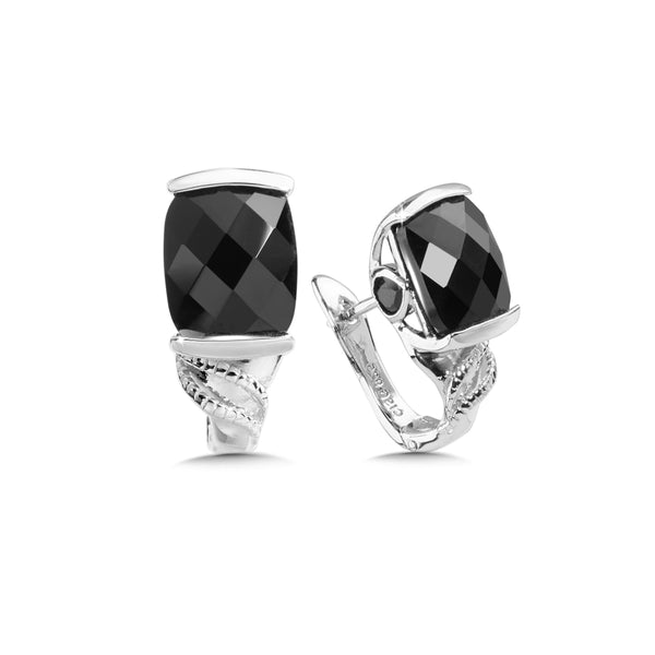 Cushion Cut Black Onyx Earrings, Sterling Silver