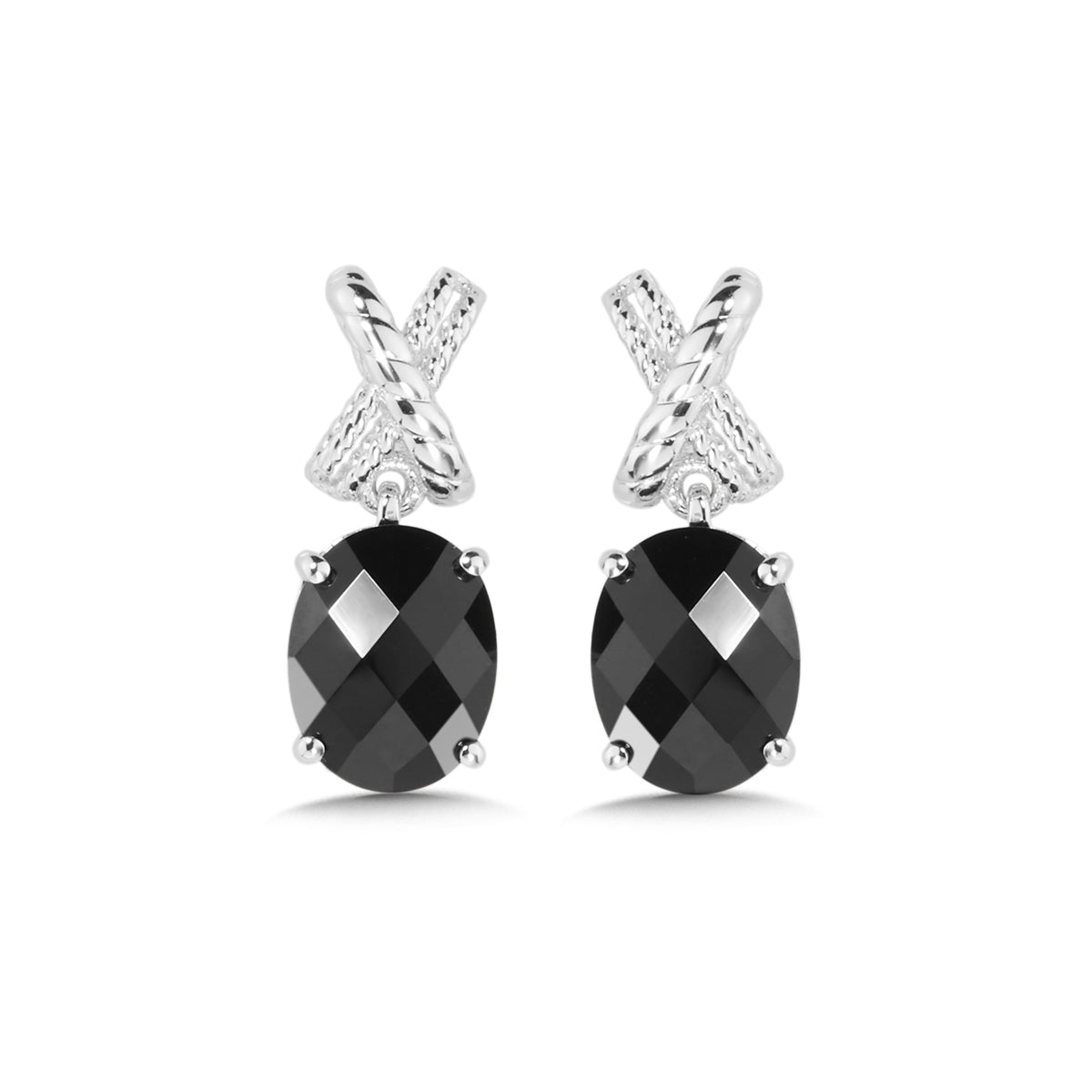 Oval Faceted Black Onyx Earrings, Sterling Silver