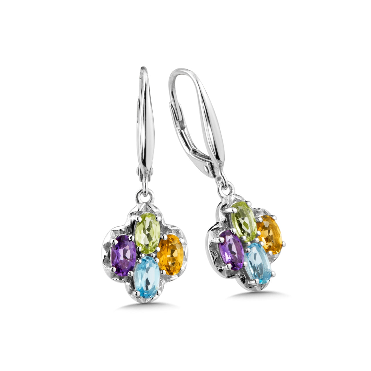 Multi Gemstone Dangle Earrings, Sterling Silver