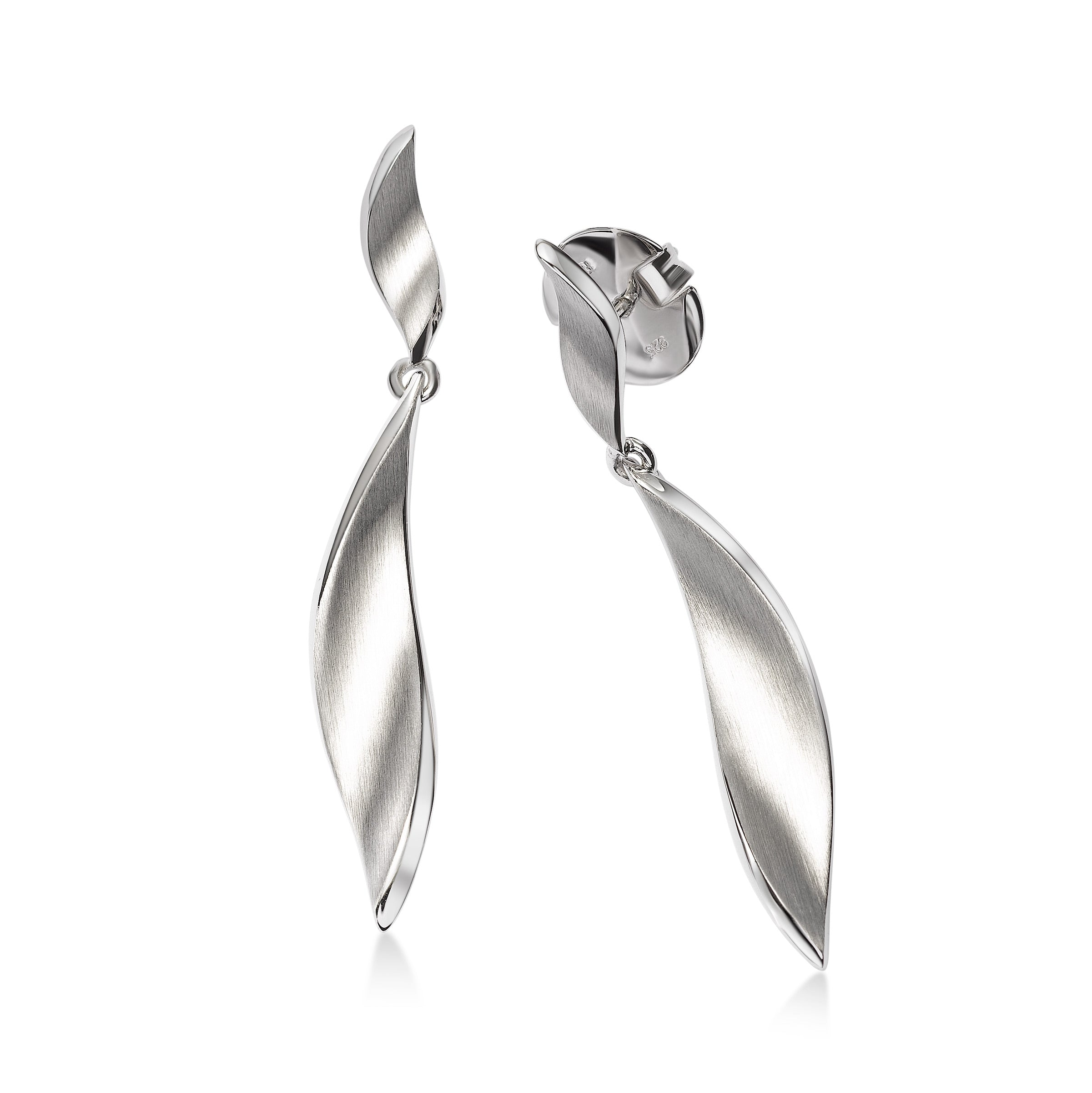 Twisted Leaf Dangle Earrings, Sterling Silver