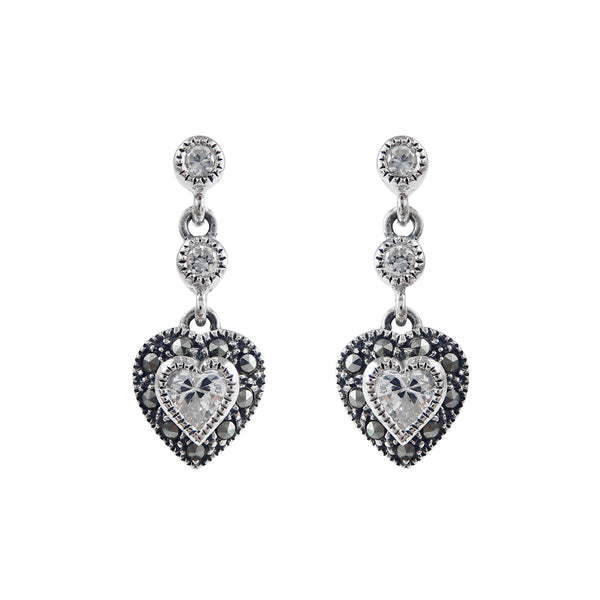 White CZ and Marcasite Heart Dangle Earrings, Sterling Silver