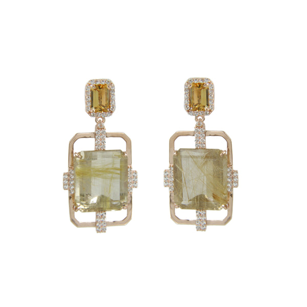 Rutilated Quartz and Citrine Dangle Earrings, Sterling Silver and Vermeil