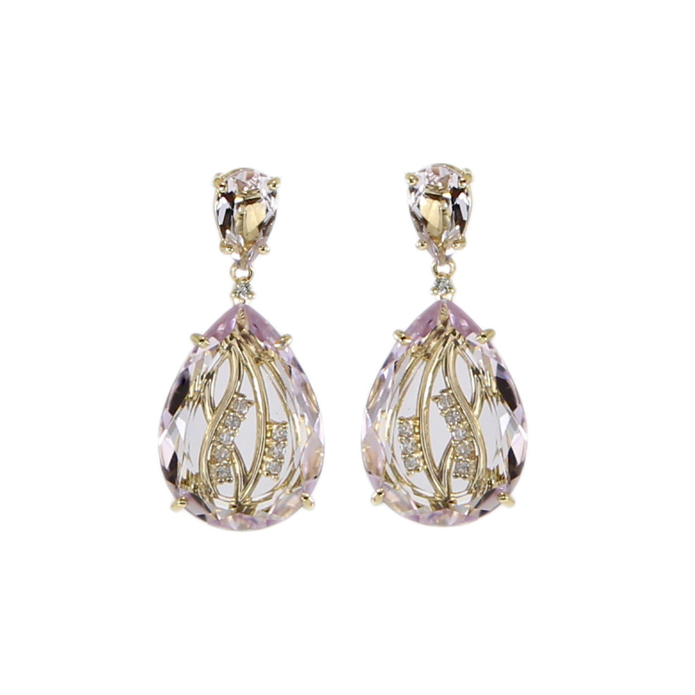 Pink Amethyst and White Topaz Drop Earrings, Sterling Silver and Vermeil