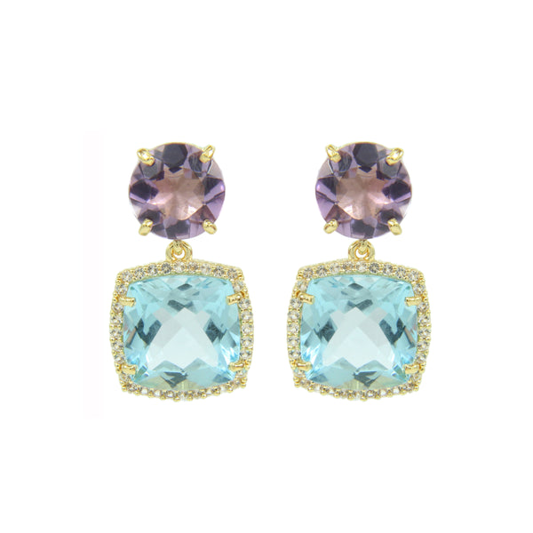 Blue Topaz, Amethyst and White Topaz Drop Earrings, Sterling Silver and Vermeil