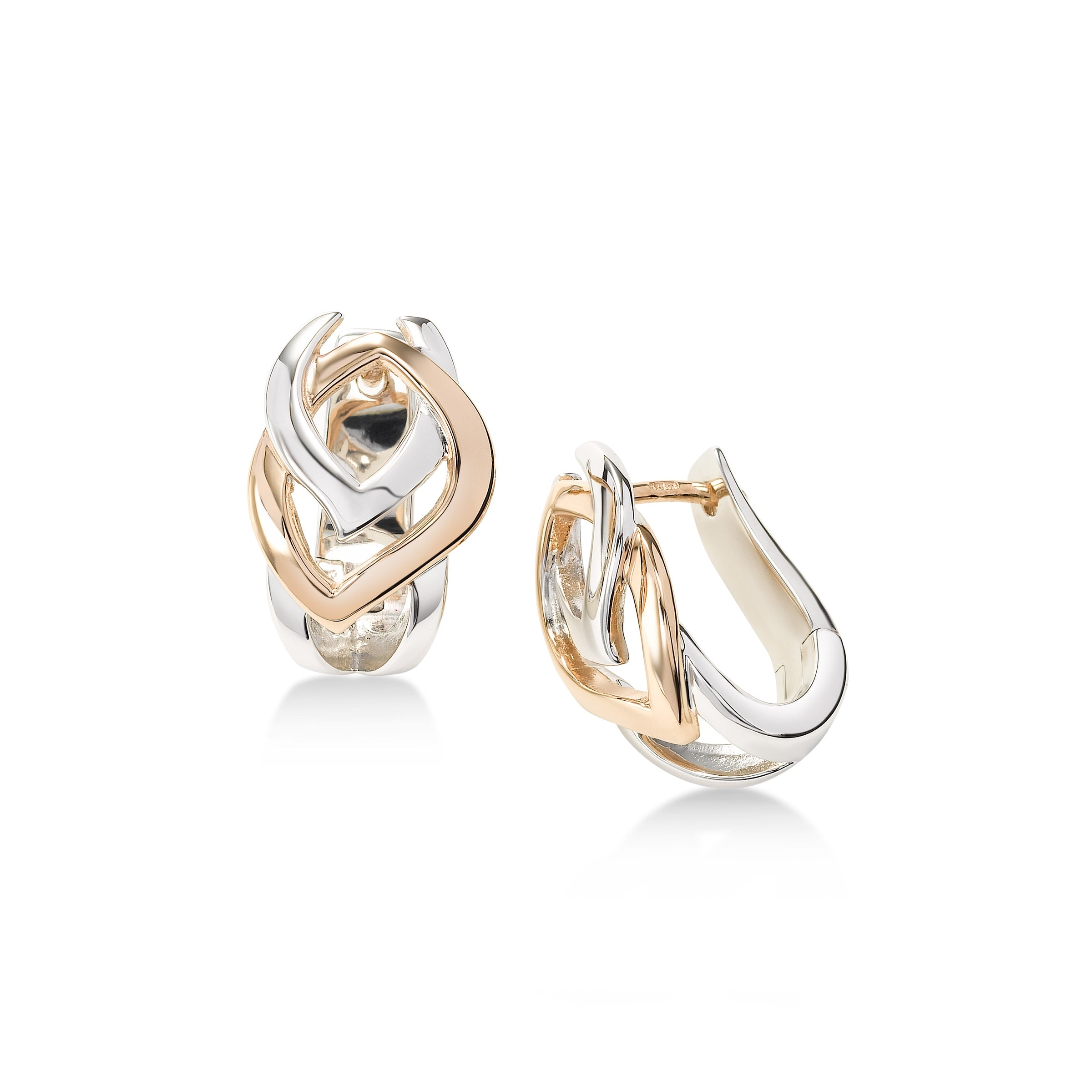 Two Tone Interlocking Link Earrings, Sterling Silver with Rose Gold Plating