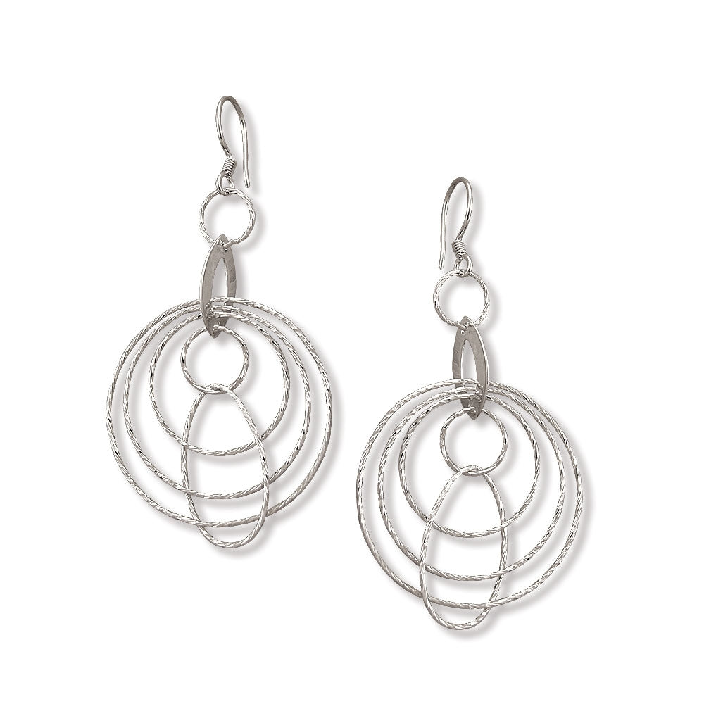 Multi Layer Circles Dangle Earrings, Sterling Silver