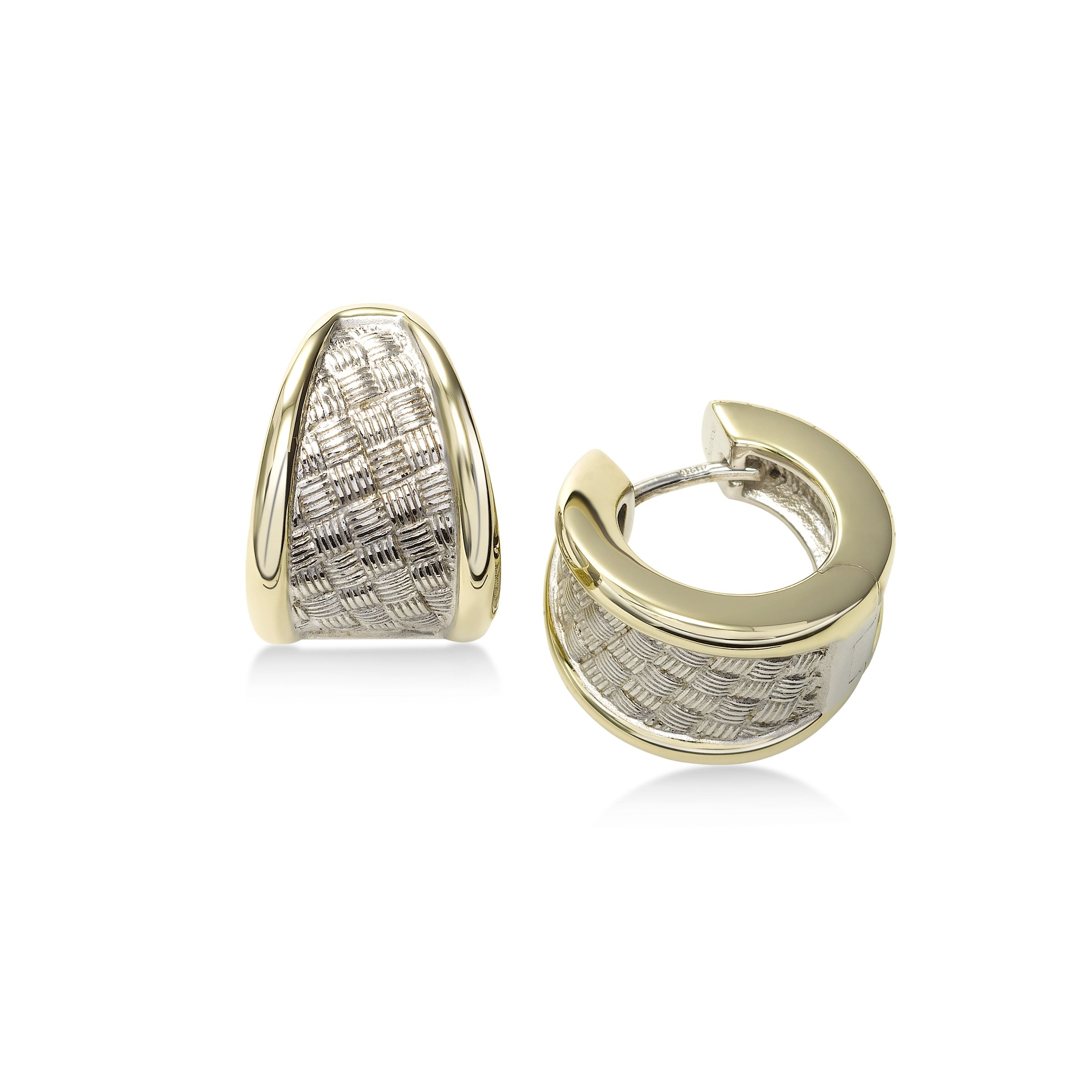 Weave Design Huggie Hoop Earrings, Sterling Silver with Yellow Gold Plating