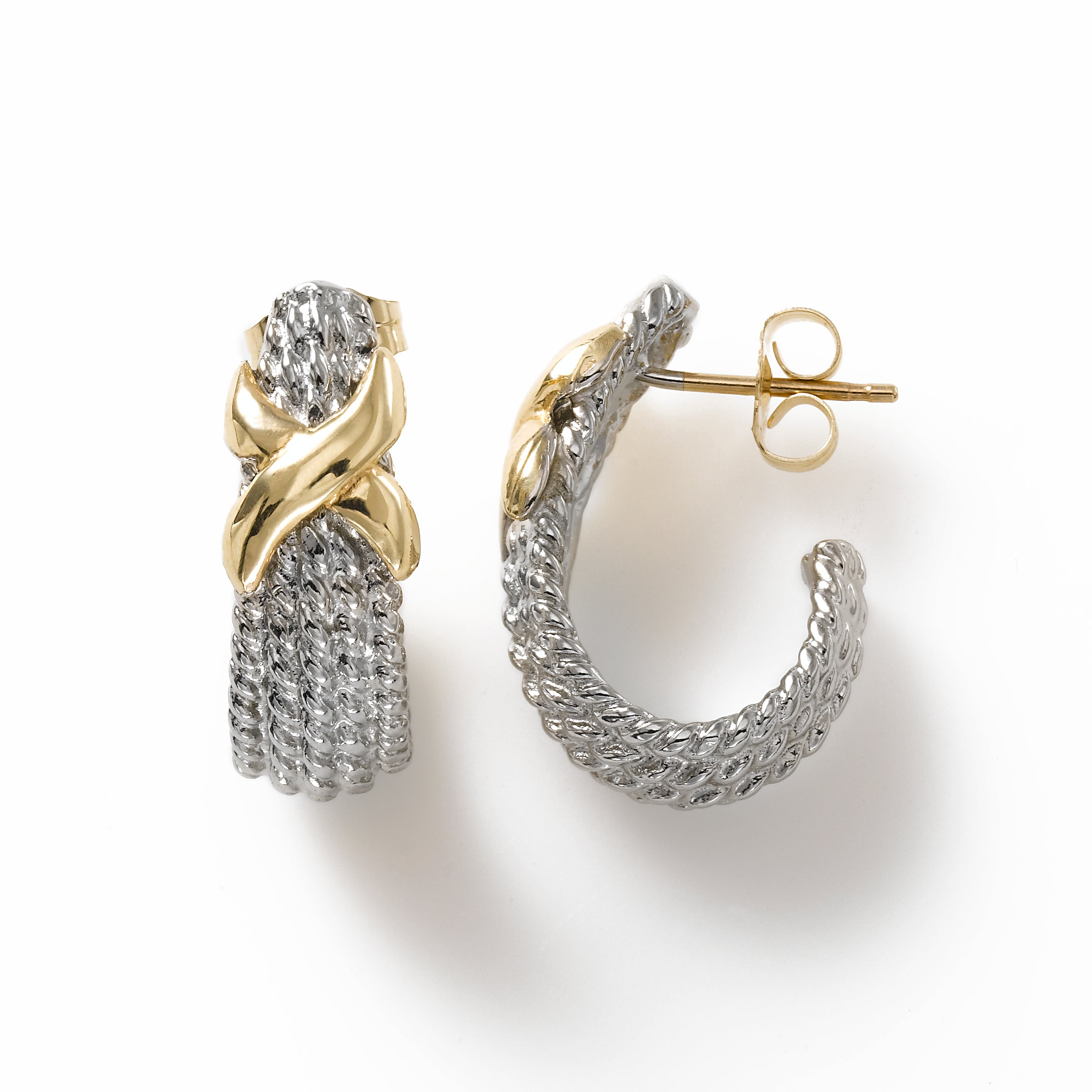 Rope Texture 'J' Hoop, Sterling Silver, and 14K Yellow Gold