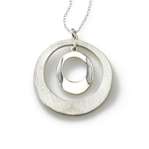 Brushed and Shiny Double Circle Pendant, Sterling Silver