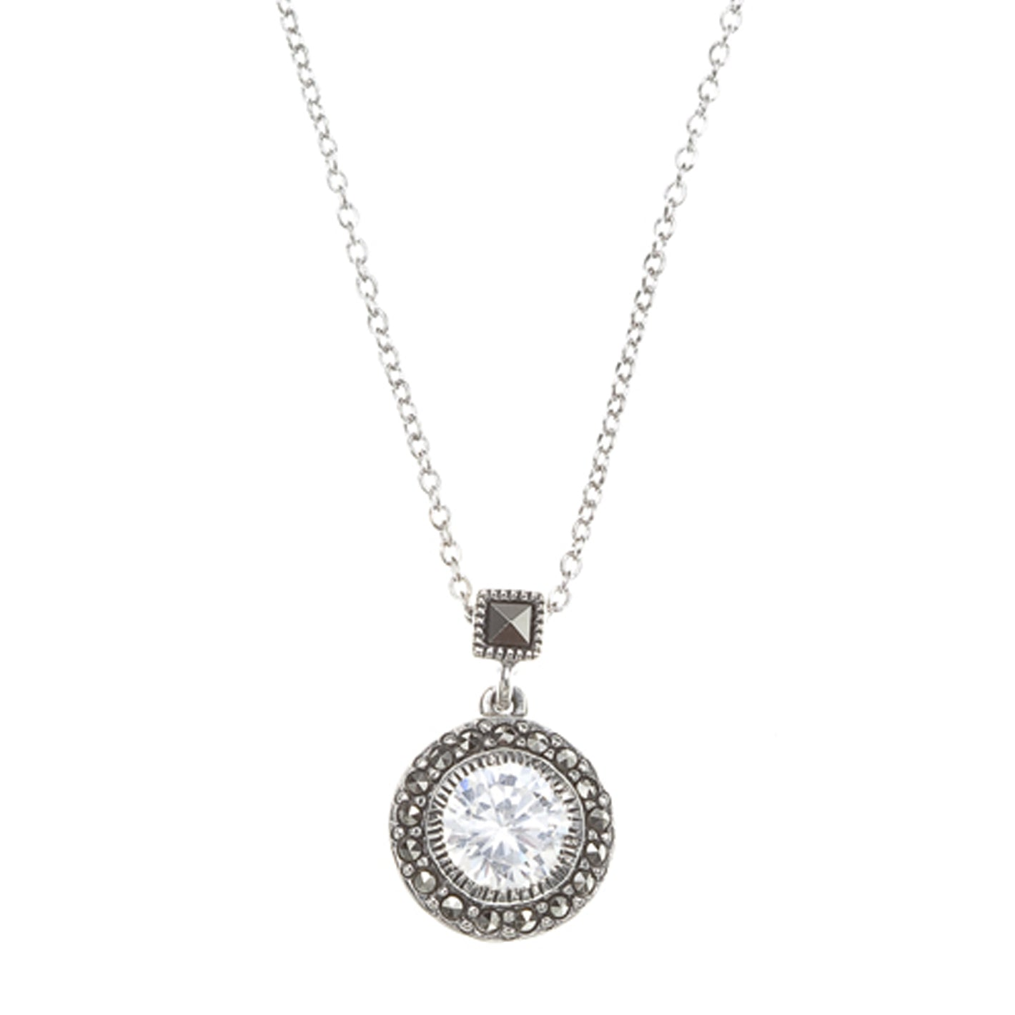 Marcasite and CZ Round Pendant by Judith Jack, Sterling Silver