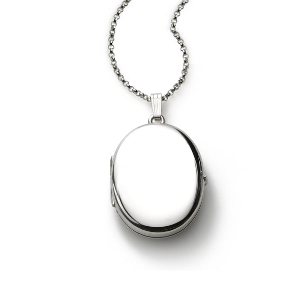 Polished Oval Locket, Sterling Silver