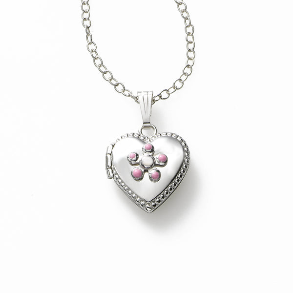 Girls Pink Flower Locket, Half Inch, Sterling Silver