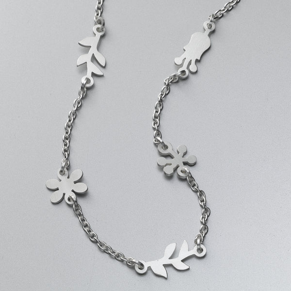 Hibiscus Flower Necklace, Sterling Silver, by EcoJewel