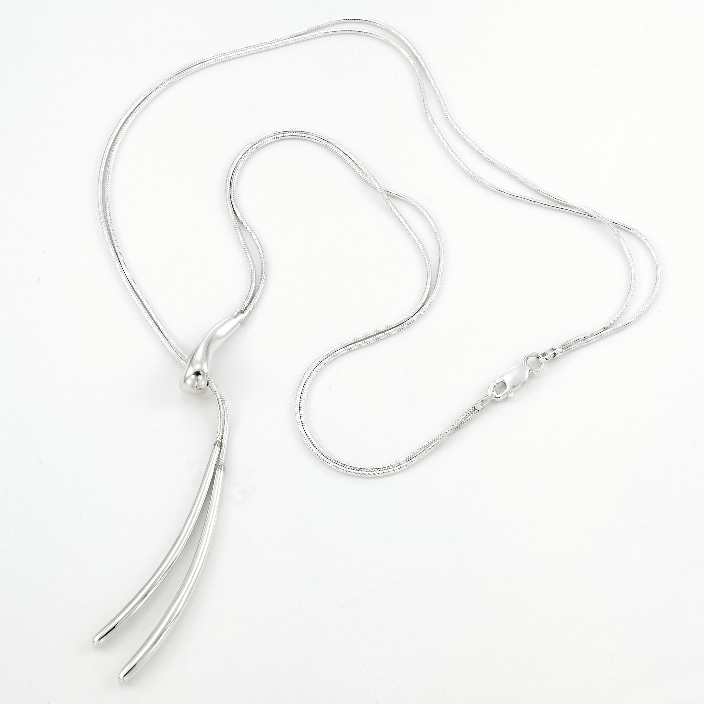 Double Snake Chain Lariat, Sterling Silver, by Sharelli