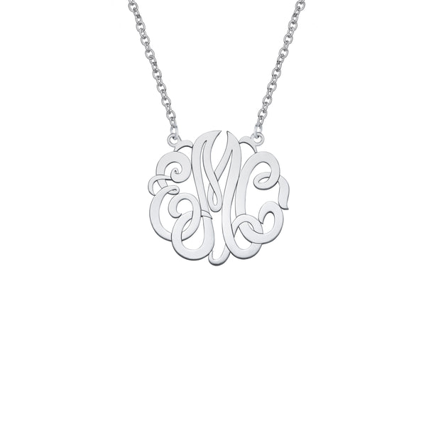 Monogram Pendant, Medium, Sterling Silver