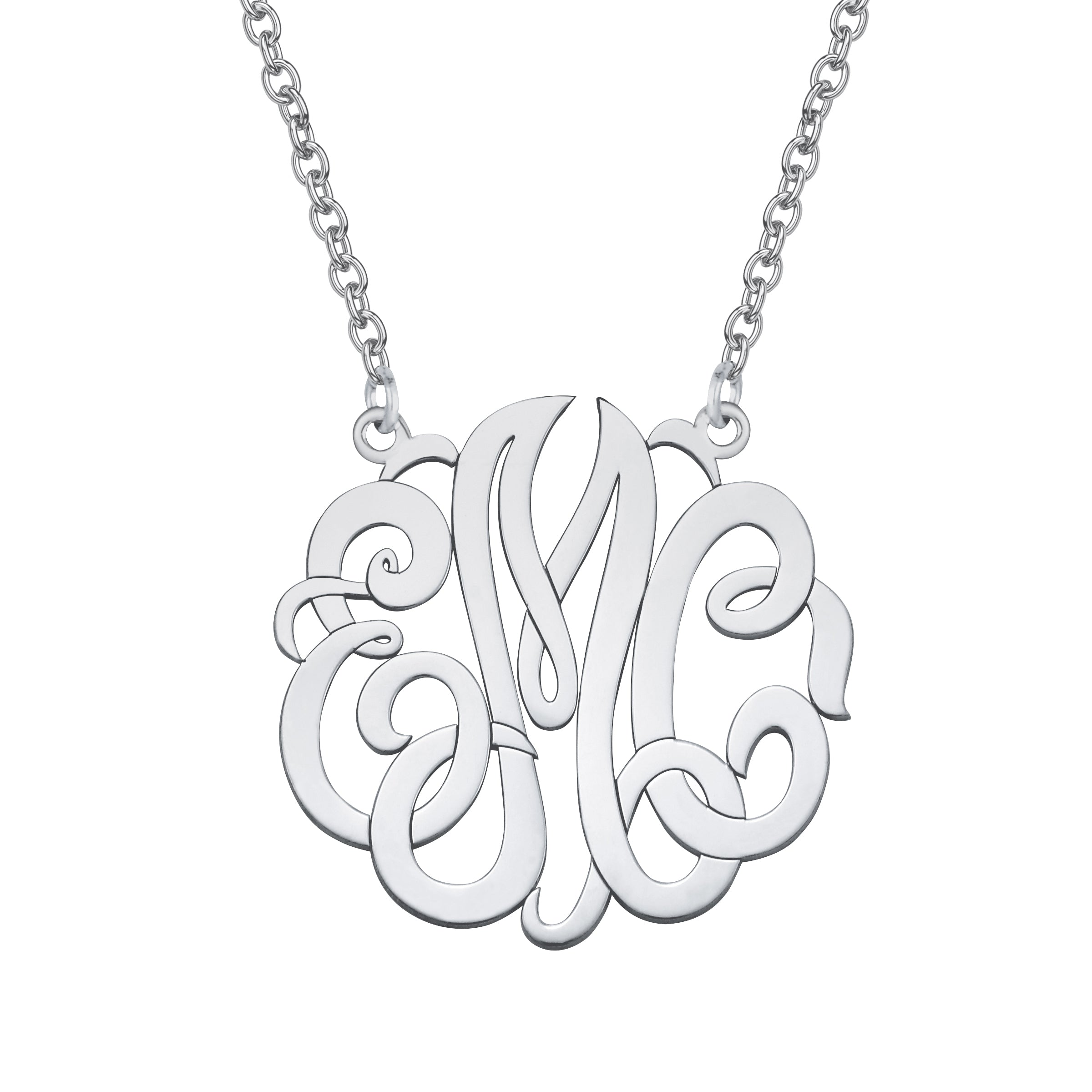 Monogram Pendant, Large, Sterling Silver