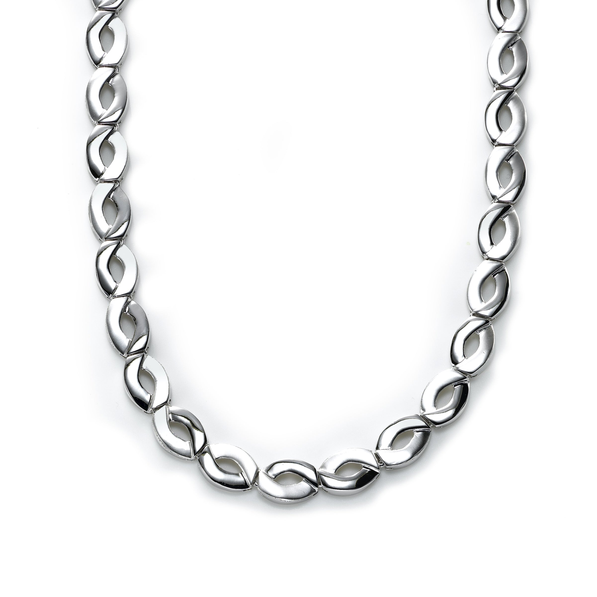 Matte and Shiny Link Necklace, Sterling Silver