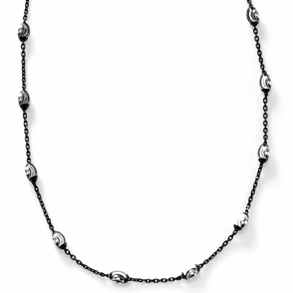 Oval Bead Station Necklace, Sterling Silver with Black Rhodium Plating