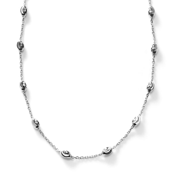 Oval Bead Necklace, Sterling Silver with Rhodium Plating