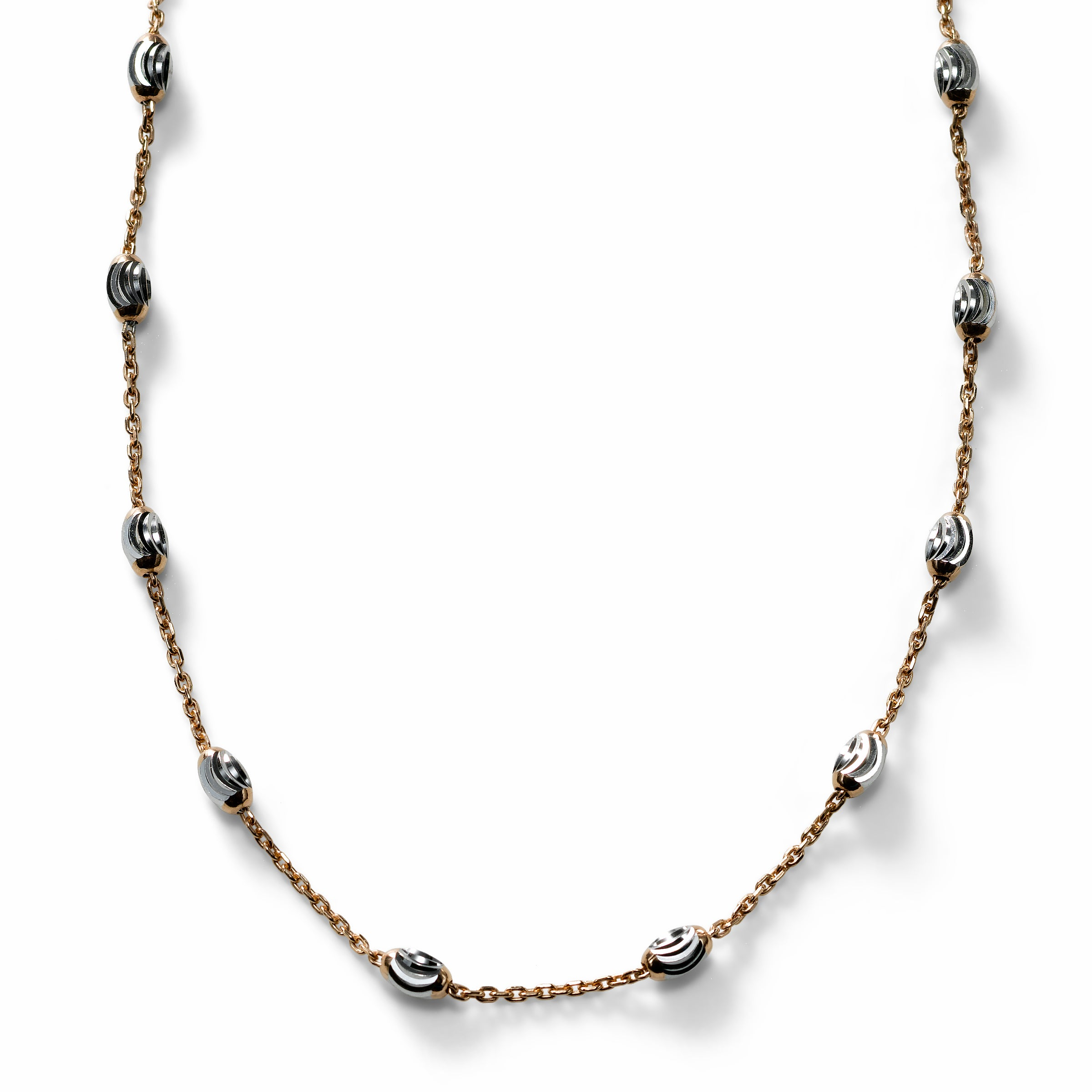 Oval Bead Necklace, Sterling with 18K Rose Gold Plating