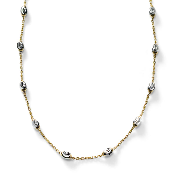 Oval Bead Necklace, Sterling with 18K Yellow Gold Plating